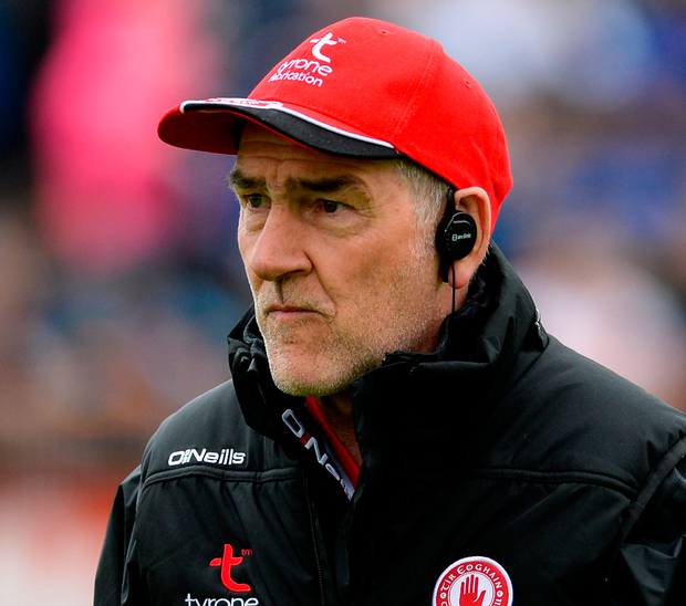 Tyrone manager Mickey Harte during the Ulster GAA Football Senior Championship Quarter-Final match between Tyrone and Monaghan at Healy Park in Tyrone. Photo: Sportsfile