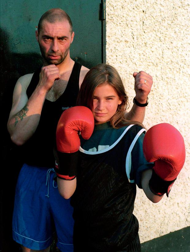 Katie with dad Pete in the early days of her career
