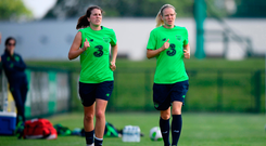 Niamh Fahey and Diane Caldwell, right, during Republic of Ireland training