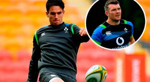 Joey Carbery and (inset) Peter O'Mahony training in Australia
