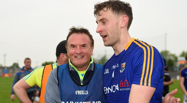 Longford manager Denis Connerton celebrates after beating Meath