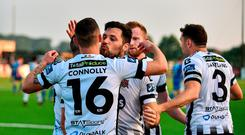 Patrick Hoban of Dundalk celebrates with teammates including Dylan Connolly after scoring his side's second goal during the SSE Airtricity League Premier Division match between Dundalk and Limerick at Oriel Park in Dundalk, Louth. Photo by Sam Barnes/Sportsfile