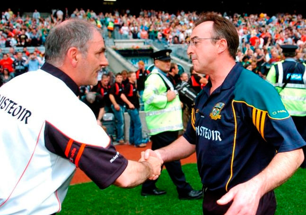 Shaking hands with Tyrone manager Mickey Harte after his Meath team had beaten Tyrone in 2007. Picture Credit; Brian Lawless / Sportsfile