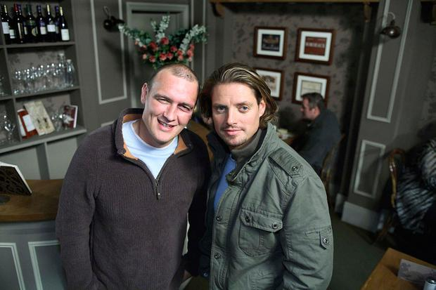 The late Alan O'Neill (left) on the 'Fair City' set with fellow star Keith Duffy