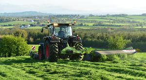 Contractor Jimmy Doyle from Ballymartin Co Carlow seen here getting out the new Claas kit to cut the first lot of silage for Larry and Laurance Kinsella Carrig , Bagenalstown Co Carlow. Photo Roger Jones.
