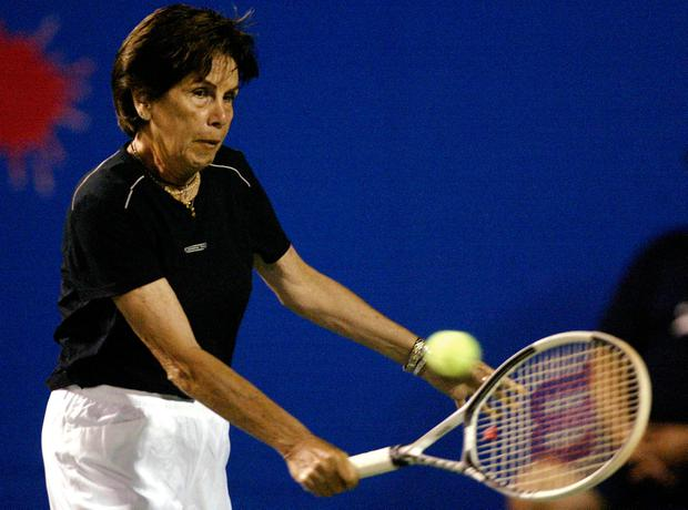 Former Brazilian great Maria Esther Bueno winner of 19 Grand Slam singles and doubles titles from 1959-68 plays during a tennis exhibition on Copacabana beach in Rio de Janeiro Brazil