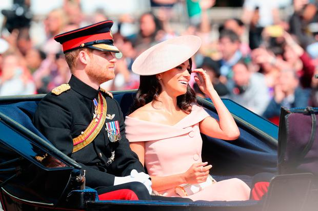 Prince Harry, Duke of Sussex and Meghan, Duchess of Sussex during Trooping The Colour on the Mall on June 9, 2018 in London, England