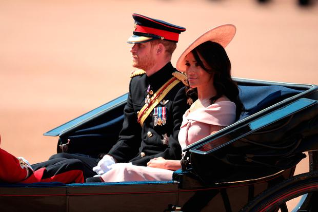 Prince Harry, Duke of Sussex and Meghan, Duchess of Sussex arrive at The Royal Horseguards during Trooping The Colour ceremony on June 9, 2018 in London, England