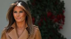 U.S. first lady Melania Trump arrives in the Rose Garden to speak at the White House May 7, 2018 in Washington, DC