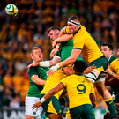 Peter O'Mahony of Ireland contests a lineout with Izack Rodda of Australia