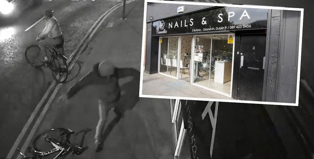 Vandals caught on CCTV attacking Camelia Nails and Co and (inset) the damage caused by one of the attacks
