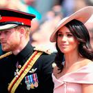Meghan, Duchess of Sussex and Prince Harry, Duke of Sussex during Trooping The Colour on the Mall on June 9, 2018 in London, England