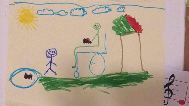 A photo Jakub drew of himself and Patrycja.
