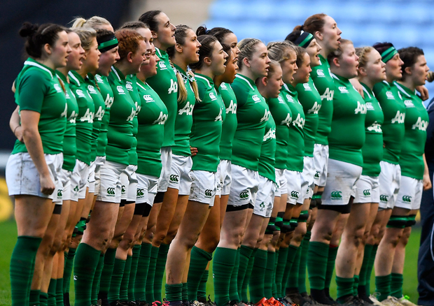 Irish Women's team ahead of Six Nations Rugby Championship match against England