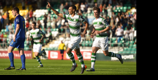 9 June 2018; Graham Burke of Shamrock Rovers celebrates after scoring his side's first goal during the SSE Airtricity League Premier Division match between Shamrock Rovers and Bray Wanderers at Tallaght Stadium in Dublin. Photo by David Fitzgerald/Sportsfile