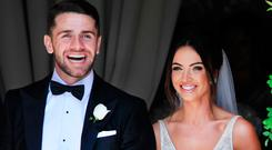 Robbie Brady and Kerrie Harris beaming after saying 'I Do' All photos: Steve Humphreys