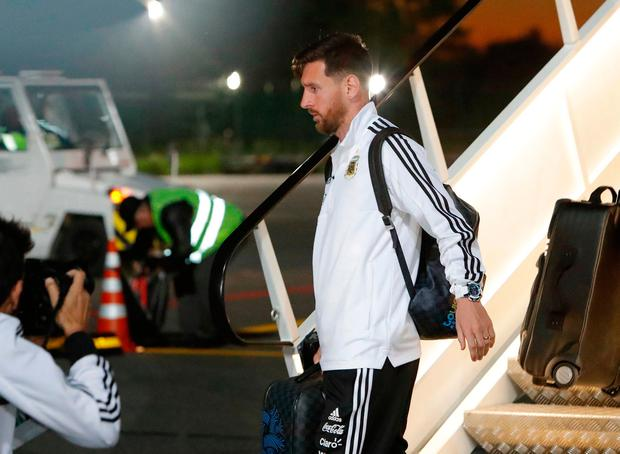Lionel Messi arrives at Zhukovsky International Airport, Moscow yesterday with the Argentine World Cup squad. Photo: Sergei Karpukhin/Reuters