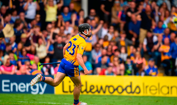 Ian Galvin of Clare celebrates after scoring his side's first goal