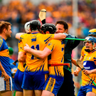 Clare players, including Patrick O'Connor, Tony Kelly , Jamie Shanahan and Podge Collins, celebrate beating Tipp