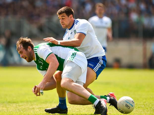Sean Quigley of Fermanagh in action against Drew Wylie of Monaghan
