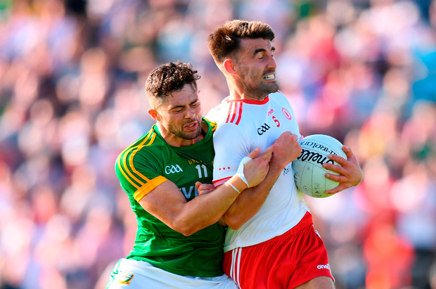 Tiernan McCann of Tyrone in action against Ben Brennan of Meath. Photo by Stephen McCarthy/Sportsfile
