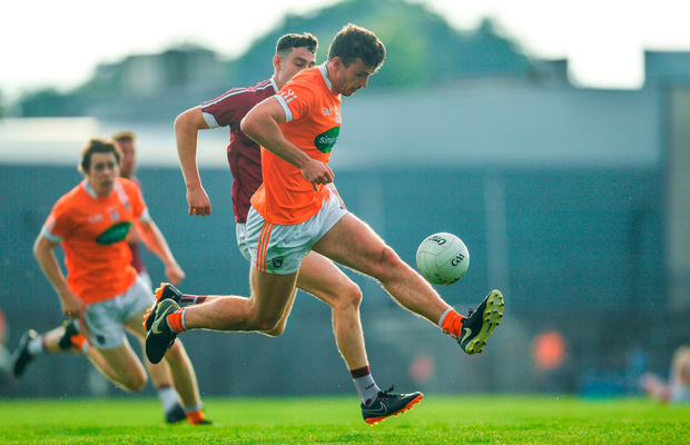Ethan Rafferty of Armagh in action against Sam Duncan of Westmeath. Photo by Ramsey Cardy/Sportsfile