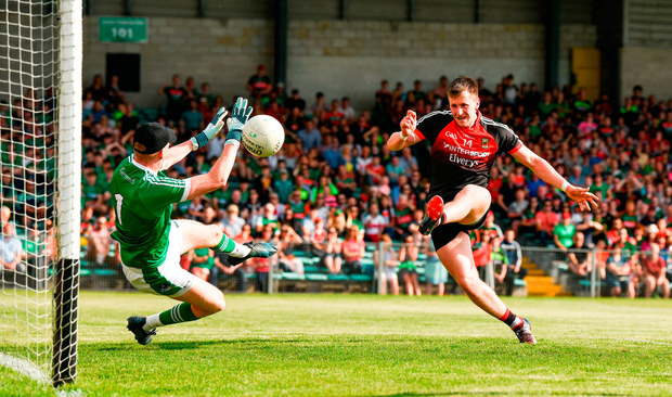 Cillian O'Connor scores Mayo's first goal. Photo by Diarmuid Greene/Sportsfile