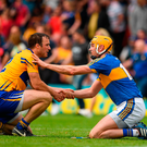10 June 2018; Patrick O'Connor of Clare and Seamus Callanan of Tipperary after the Munster GAA Hurling Senior Championship Round 4 match between Tipperary and Clare at Semple Stadium in Thurles, Tipperary. Photo by Ray McManus/Sportsfile