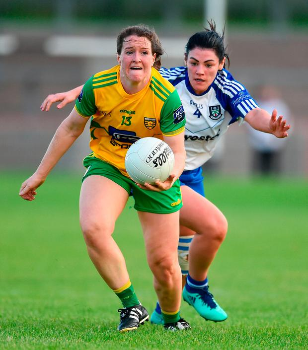 Bridget Gallagher of Donegal in action against Ellen McCarron of Monaghan. Photo by Oliver McVeigh/Sportsfile