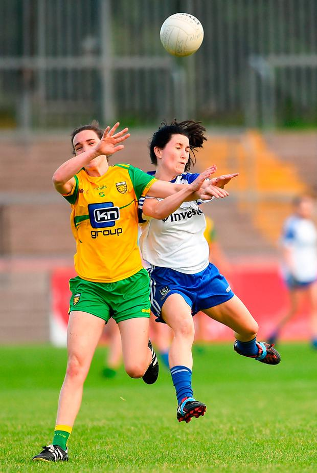 Therese McCafferty of Donegal in action against Therese Scott of Monaghan. Photo by Oliver McVeigh/Sportsfile