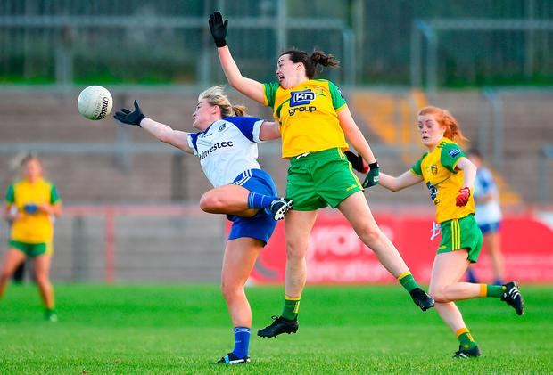 Ellen McCarron of Monaghan in action against Nicole McLaughlin of Donegal. Photo by Oliver McVeigh/Sportsfile