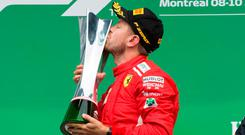 Vettel celebrates after winning the Canadian Grand Prix Sunday, June 10, 2018 in Montreal. Photo: Ryan Remiorz/The Canadian Press via AP