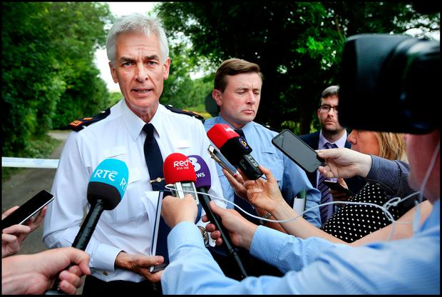 Garda Supt. Colm O'Sullivan (left) pictured alongside Garda Inspector Gary McPolin while speaking to media at a press briefing at the scene of the murder at Maglin, Balincollig Co Cork. Pic Steve Humphreys