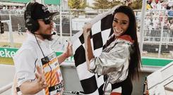 Winnie Harlow waved the flag before the scheduled 70 laps had been completed CREDIT: WINNIE HARLOW INSTAGRAM
