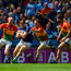 10 June 2018; Evan O'Carroll of Laois in action against Carlow players, left to right, Cian Lawler, Chris Crowley, and Daniel St Ledger during the Leinster GAA Football Senior Championship Semi-Final match between Carlow and Laois at Croke Park in Dublin. Photo by Daire Brennan/Sportsfile