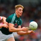 9 June 2018; Daniel Flynn of Kildare in action against Paul McNeill of Derry during the GAA Football All-Ireland Senior Championship Round 1 match between Derry and Kildare at Derry GAA Centre of Excellence, Owenbeg, Derry. Photo by Piaras Ó Mídheach/Sportsfile
