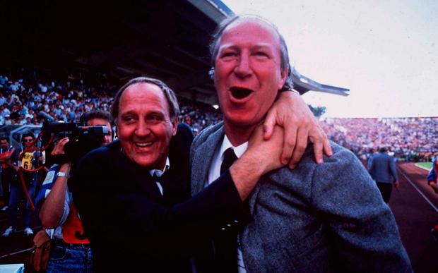 Jack Charlton and Maurice Setters celebrate the famous win over England. Photo: Ray McManus/SPORTSFILE