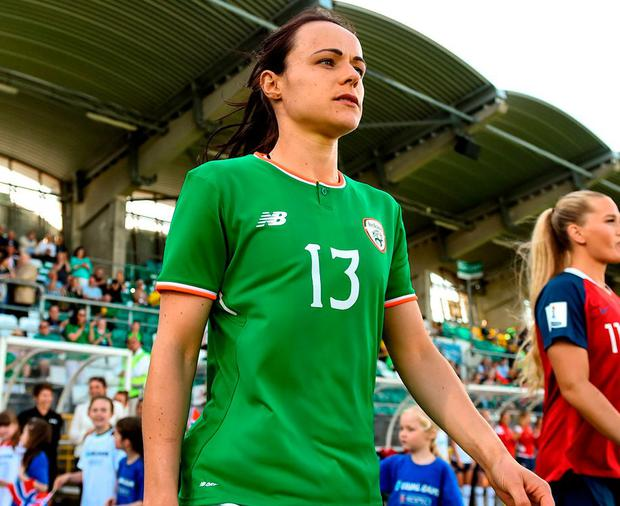 Aine O'Gorman makes her way on to the pitch for Ireland's World Cup qualifier in Tallaght stadium against Norway last week. Photo: Stephen McCarthy/Sportsfile