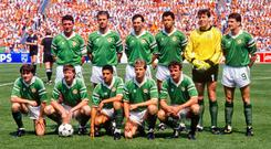 The Republic of Ireland team, back row, from left, Frank Stapleton, Mick McCarthy, Tony Galvin, Paul McGrath, Pat Bonner and John Aldridge, front row, from left, Ray Houghton, Ronnie Whelan, Chris Hughton, Chris Morris and Kevin Moran. European Championship Finals 1988, Group B, Republic of Ireland v Holland, Parkstadion, Gelsenkirchen, Germany. Photo: Ray McManus/SPORTSFILE