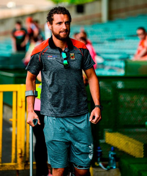 Mayo's Tom Parsons arrives at the Gaelic Grounds prior to Mayo's Senior Championship match against Limerick at the weekend. Photo: Diarmuid Greene/Sportsfile