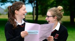 Eimear Martin and Catherine Farrell after their Irish Leaving Cert exam at Loreto Secondary School in Bray, Co Wicklow. Photo: Justin Farrelly
