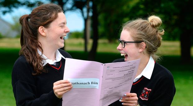 Eimear Martin and Catherine Farrell after their Irish Leaving Cert exam at Loreto Secondary School in Bray, Co Wicklow in June Photo: Justin Farrelly