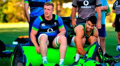 Dan Leavy, left, and Conor Murray prepare for Ireland rugby squad training at Royal Pines Resort in Queensland, Australia. Photo: Brendan Moran/Sportsfile