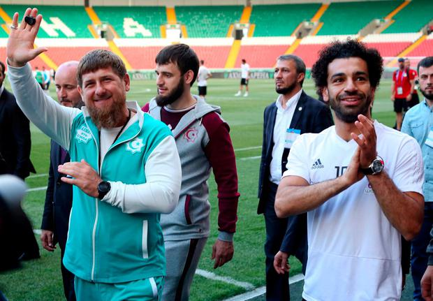 Egypt and Liverpool star Mo Salah alongside Chechen regional leader Ramzan Kadyrov at a training session in Grozny. Photo: AP