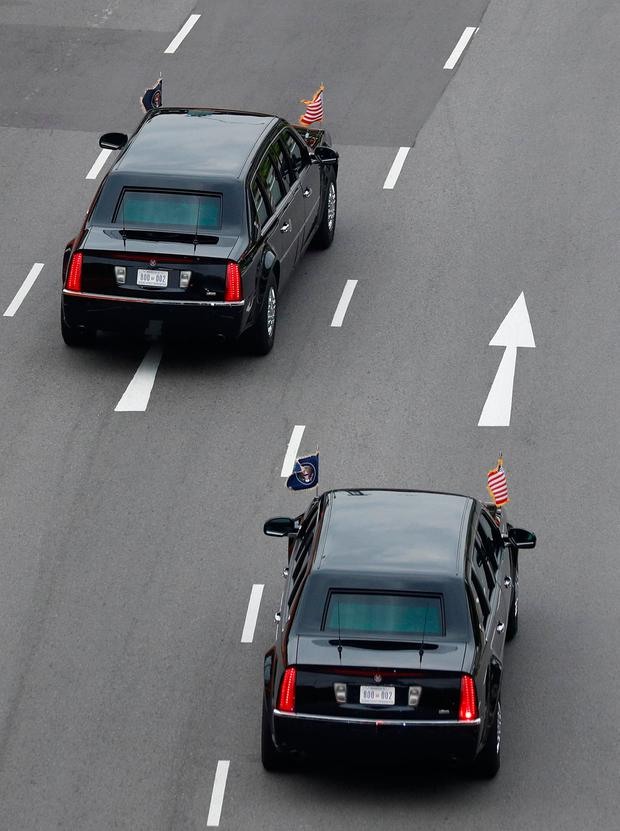 The motorcade of US President Donald Trump travels towards Sentosa for his meeting with North Korean leader Kim Jong Un, in Singapore