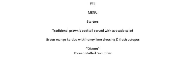 The menu for a working lunch served to U.S. President Donald Trump and North Korea's leader Kim Jong Un and their delegations during their summit at the Capella Hotel on Sentosa island in Singapore June 12, 2018. The White House via REUTERS