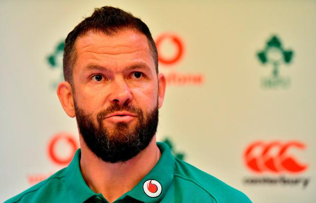 Defence coach Andy Farrell speaks to the media during an Ireland rugby press conference in Melbourne, Australia. Photo by Brendan Moran/Sportsfile