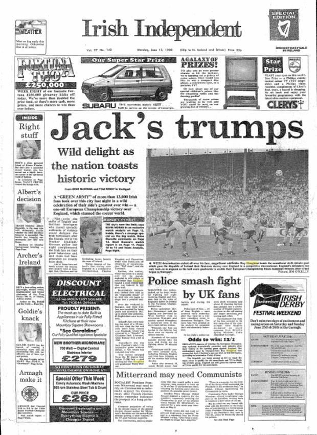 The front page of the Irish Independent on June 13, 1988 after the win over England
