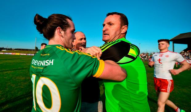 Meath manager Andy McEntee is restrained by Cillian O'Sullivan after confronting the referee following the GAA Football All-Ireland Senior Championship Round 1 match between Meath and Tyrone at Páirc Táilteann in Navan, Co Meath. Photo by Stephen McCarthy/Sportsfile