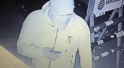 CCTV footage of an intruder who stole €3,000 worth of equipment from Keanes Farm Machinery in Balla, Co Mayo